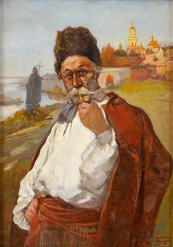 """""""Старый казак"""", 1943 г.холст на картоне; 44х31;правый нижний угол """"Ф Коновалюк 43 г."""