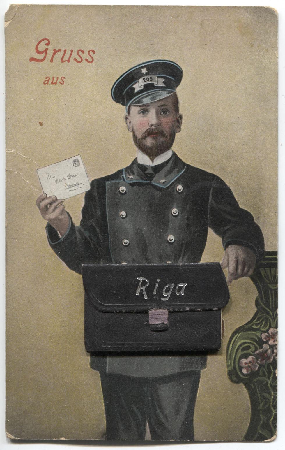 Лев девушка, открытка с почтальоном